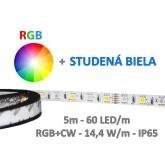 5m LED pás RGB+CW - SMD5050 - 60 LED/m - 14,4 W/m - IP65